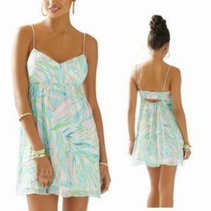 LILLY PULITZER Dorothy Skye Blue Salute silk dress
